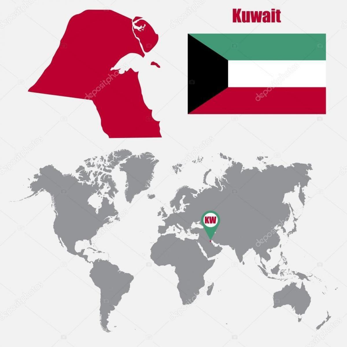 Kuvajt Polohu Na Mape Sveta Kuvajt Mape V Mape Sveta Zapadna