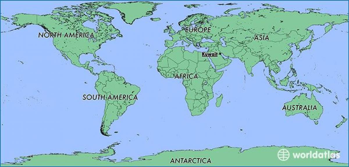 Kuvajt Vo Svete Mapa Mapa Sveta V Kuvajt Zapadna Azia Azia